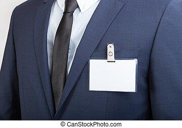 llevando, conferencia, nombre, hombre de negocios, sello de...
