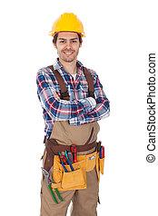 llevando, confiado, trabajador, toolbelt