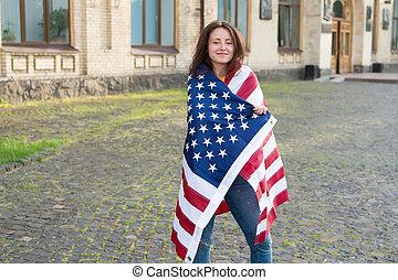 llevando, day., unido, flag., símbolo nacional,...