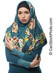 llevando, deprimido, triste, hembra, hijab, o