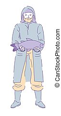 llevando, deseo, gumboots, pescador, impermeable