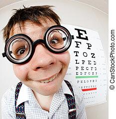 llevando, divertido, lentes, oficina, doctor, niño