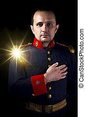 llevando, ejército, dorado, siglo, chaqueta, 19, español, militar, hombre, brillo