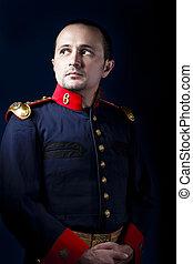 llevando, ejército, siglo, vendimia, deber, chaqueta, 19, llamada, español, militar, hombre