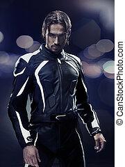 llevando, elegante, hombre, moto, uniforme