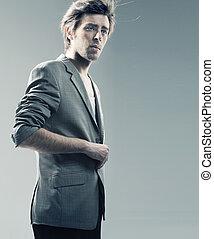 llevando, elegante, tipo, chaqueta, elegante