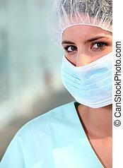 llevando, enfermera, máscara, quirúrgico