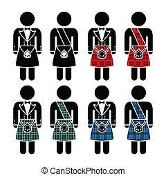 llevando, escocés, falda escocesa, hombre, iconos