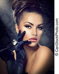 llevando, estilo, moda, belleza, vendimia, portrait., guantes, niña