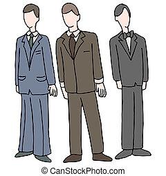 llevando, formal, hombres, traje