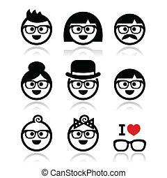 llevando, geeks, gente, anteojos, iconos