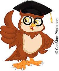 llevando, gorra, graduación, búho