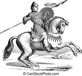 llevando, grabado, caballo, caballero, hauberk, vendimia