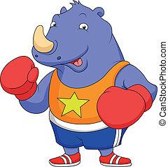llevando, guantes de boxeo, rinoceronte