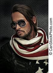 llevando, guapo, gafas de sol, hombre