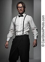 llevando, guapo, hombre, traje