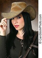 llevando, hermoso, sombrero, vaquera