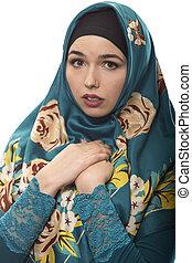 llevando, hijab, espantado, hembra