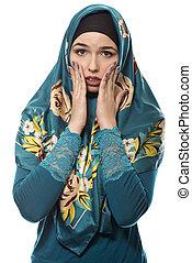 llevando, hijab, espantado, mirar, hembra