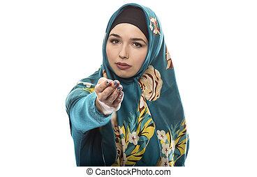 llevando, hijab, hembra, señalar, delantero