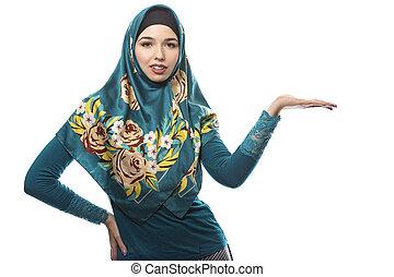 llevando, hijab, publicidad, hembra