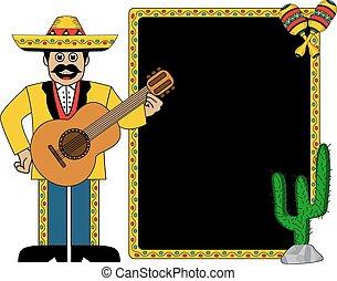 llevando, hispano, sombrero, hombre