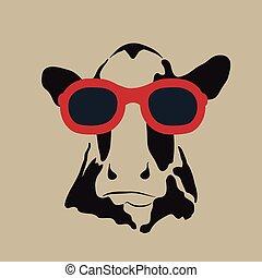 llevando, imagen, vector, glasses., vaca