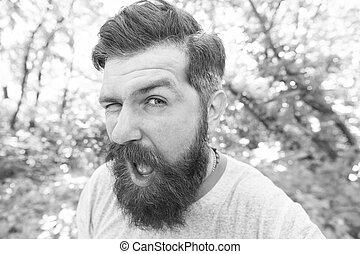 llevando, it., face., barba, elegante, bigote, textured,...