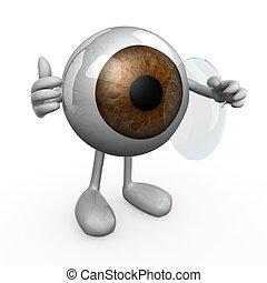 llevando, lente, contacto, ojo