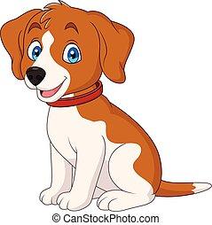 llevando, lindo, collar de perro, caricatura, rojo