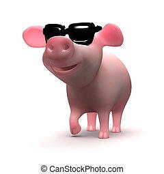 llevando, lindo, gafas de sol, cerdito, 3d
