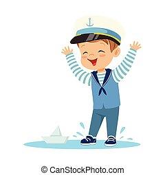 Llevando, lindo, poco, colorido, niño, marineros, charco, carácter, Ilustración, posición, papel,  vector, disfraz, sonriente, juego, barco