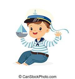 Llevando, lindo, poco, juguete, colorido, niño, marineros, Sentado, carácter, Ilustración,  vector, piso, sonriente, juego, barco, disfraz