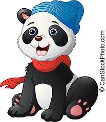 llevando, lindo, sentado, azul, caricatura, sombrero rojo, panda, bufanda
