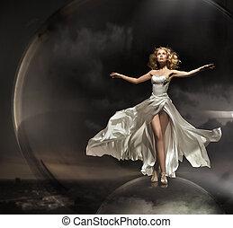 llevando, maravilloso, vestido, rubio, magnífico