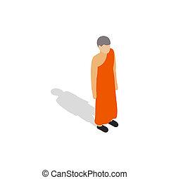 llevando, monje budista, bata de naranja, icono
