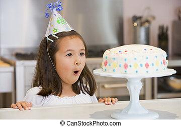 llevando, mostrador, el mirar joven, pastel, chica partido,...