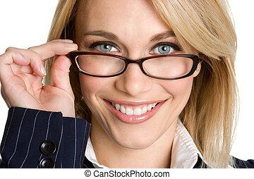 llevando, mujer, anteojos