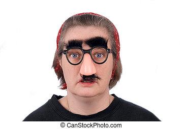 llevando, mujer, anteojos de nariz, falsificación