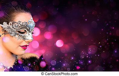 llevando, mujer, atractivo, carnaval