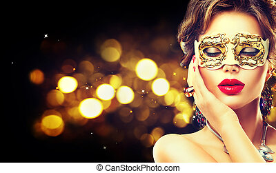 llevando, mujer, carnaval, belleza, máscara de mascarada,...