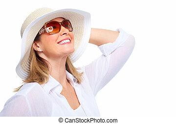 llevando, mujer, gafas de sol, hat.