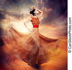 llevando, mujer, gasa, bailando, largo, moda, soplar, vestido