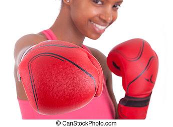 llevando, mujer, guantes de boxeo, condición física, retrato