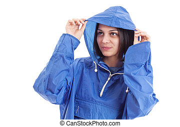 llevando, mujer, impermeable