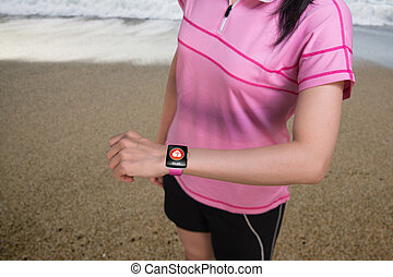 llevando, mujer, sensor, smartwatch, salud, backg, deporte, playa