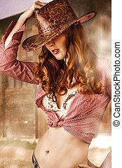 llevando, mujer, sombrero, vaquero
