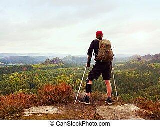 llevando, natural, pierna, parque, gainst, excursionista, ...