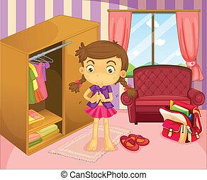 llevando, niña, ella, uniforme