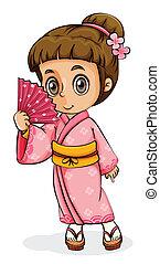 llevando, niña, kimono, asiático